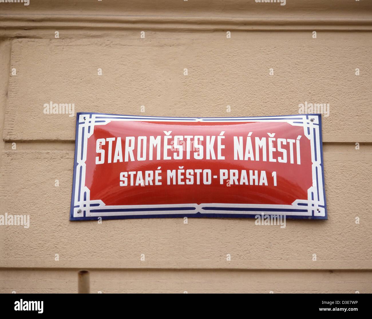 Plaque de rue dans la vieille ville (Staré Město), Prague (Praha), Région de Prague, République Tchèque Photo Stock
