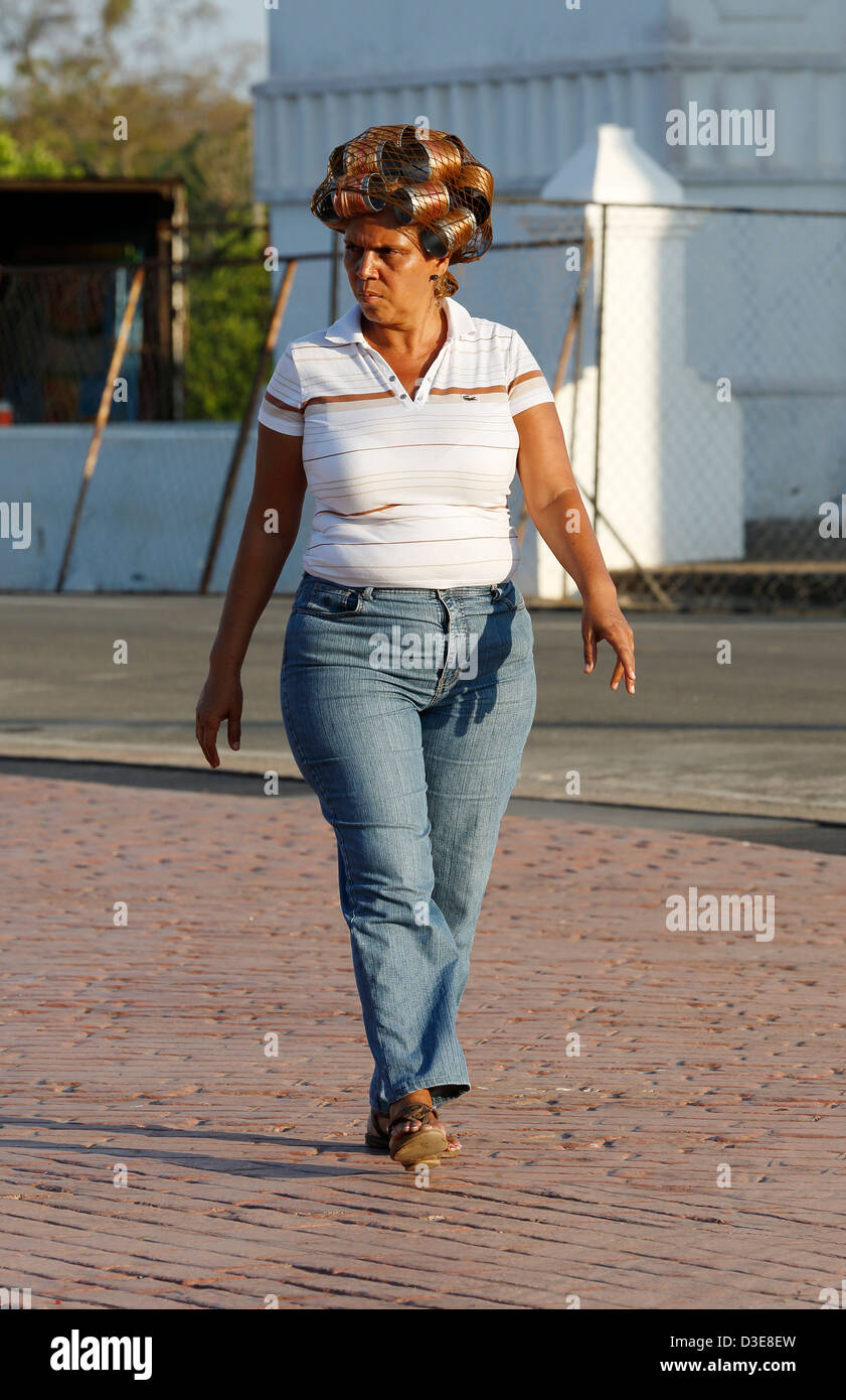 Woman in curlers, Panama Photo Stock