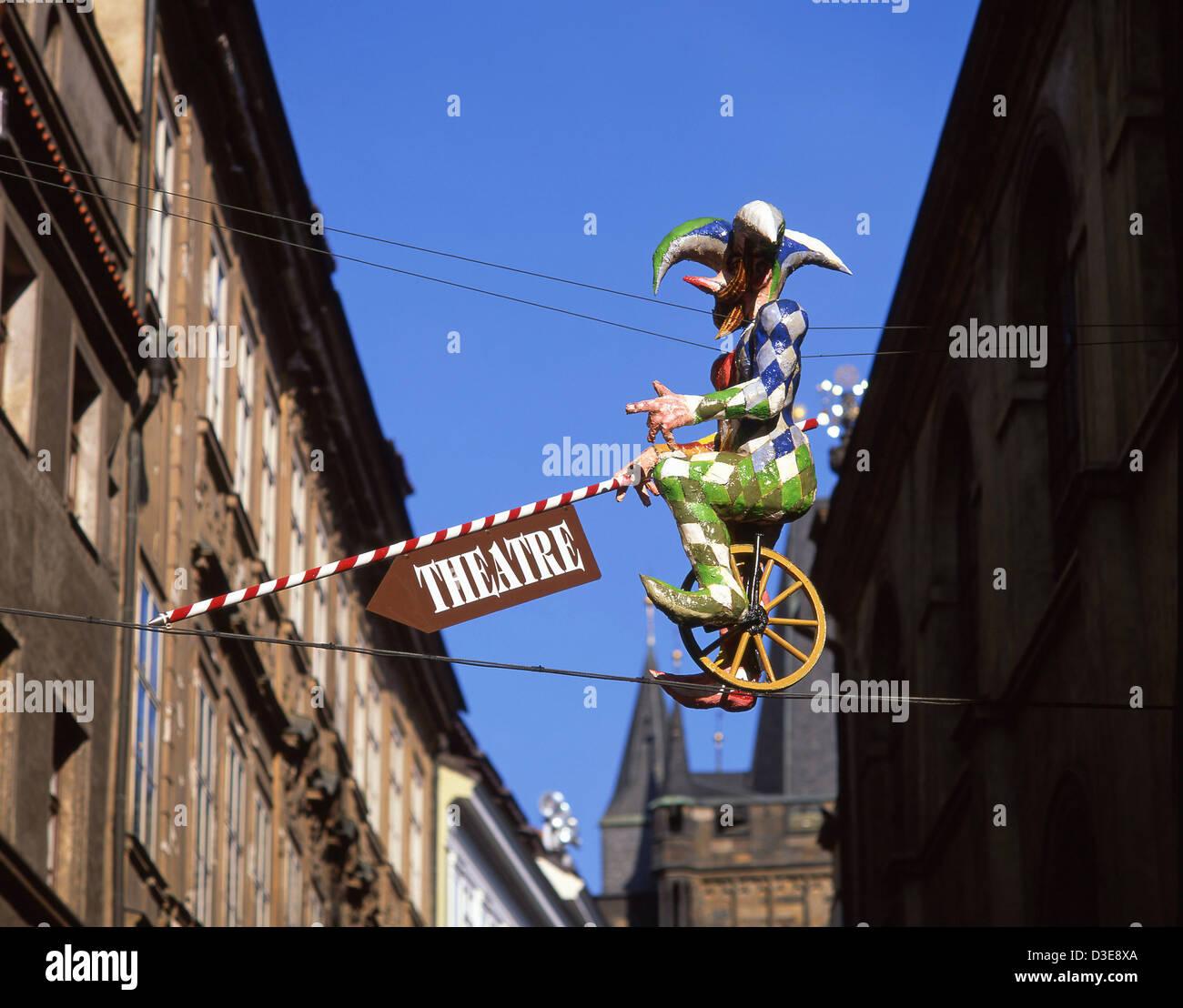 Inscrivez-théâtre dans la vieille ville (Staré Město), Prague (Praha), Région de Prague, République Photo Stock
