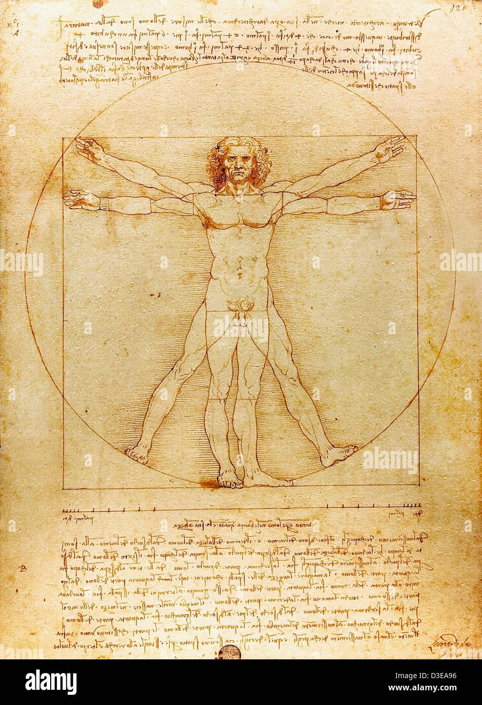 Leonardo da Vinci, l'homme de Vitruve 1490 Plume et encre sur papier. Gallerie dell'Accademia de Venise, Italie Banque D'Images