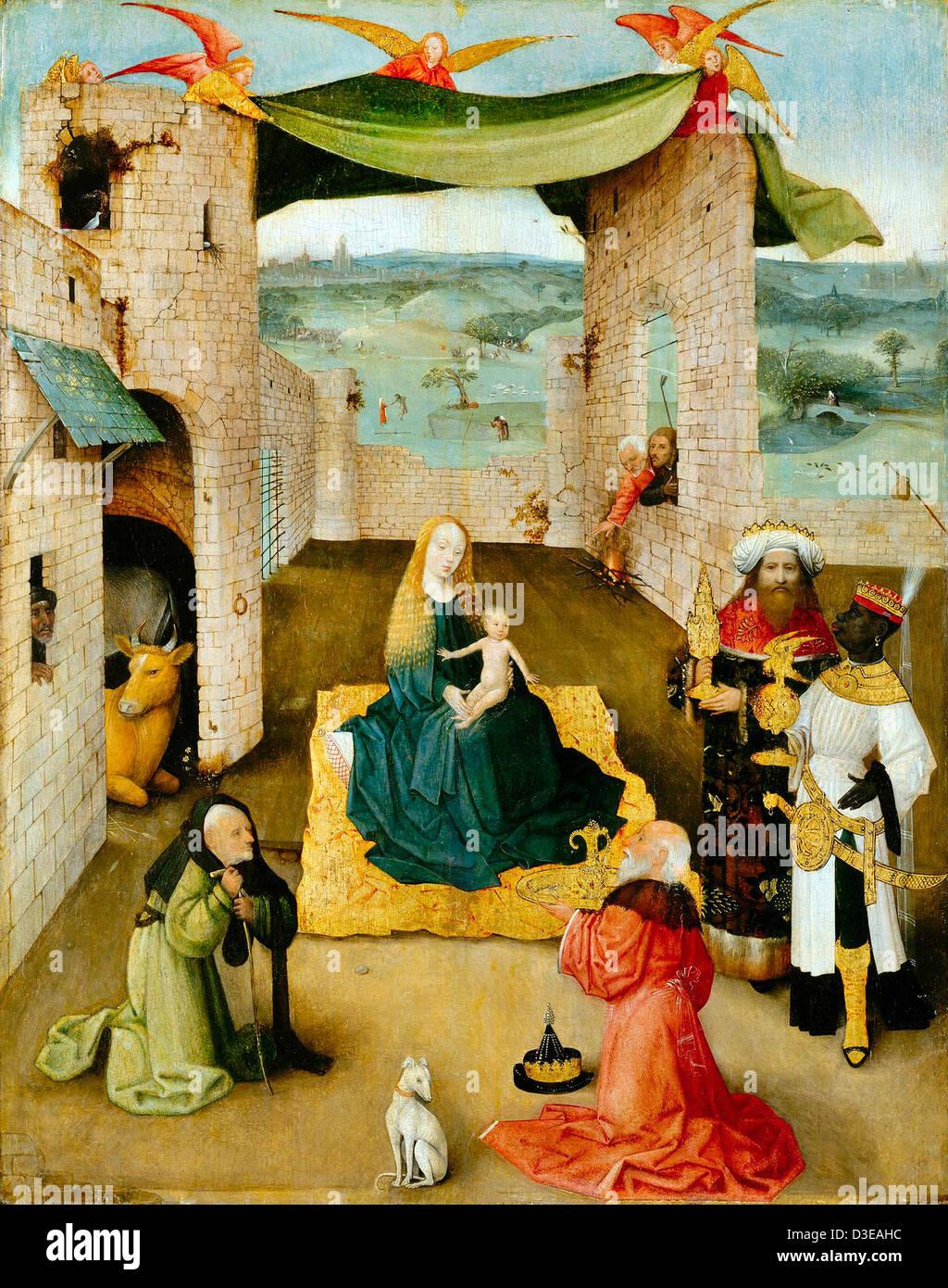 Jérôme Bosch, l'Adoration des Mages. Huile sur bois. Metropolitan Museum of Art, New York, USA Photo Stock