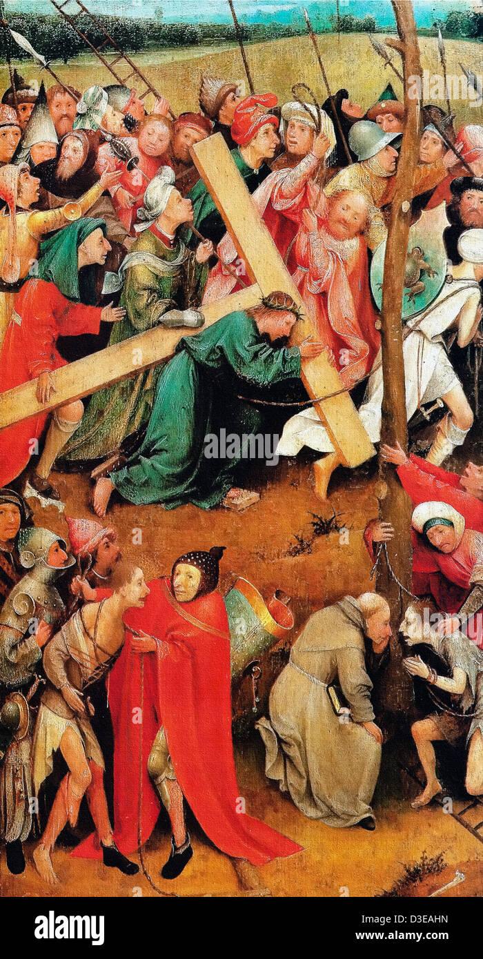 Jérôme Bosch, le Christ portant la croix (Vienne) Vers 1500 Huile sur bois. Le Kunsthistorisches Museum, Photo Stock