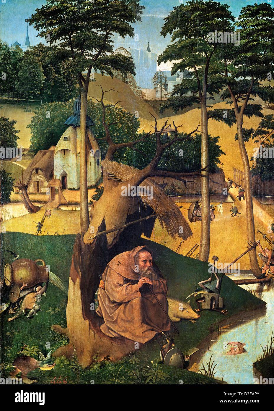 Jérôme Bosch, La Tentation de saint Antoine 1500-1525 Huile sur panneau. Museo del Prado, Madrid, Espagne Photo Stock
