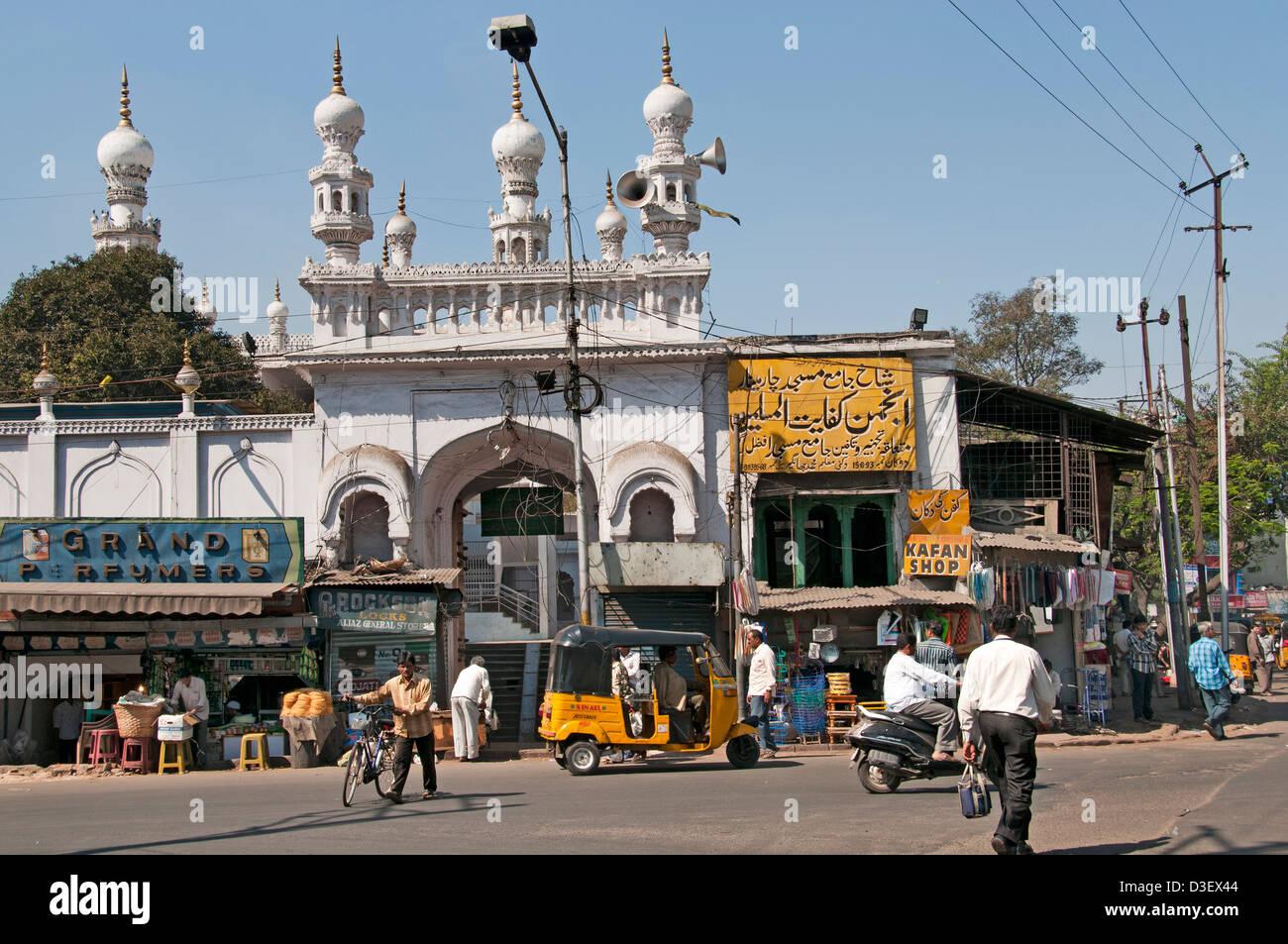 Mosquée de la rue du marché Hyderabad Inde Andhra Pradesh Photo Stock