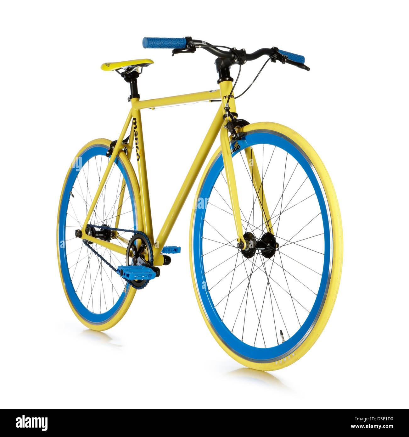 Vélo à vitesse unique jaune bleu construire sur mesure Photo Stock