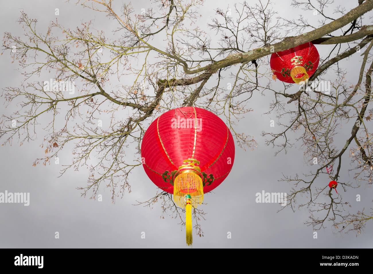 Lanternes rouges, Dr Sun Yat Sen Park et jardins, Chinatown, Vancouver, British Columbia, Canada Photo Stock
