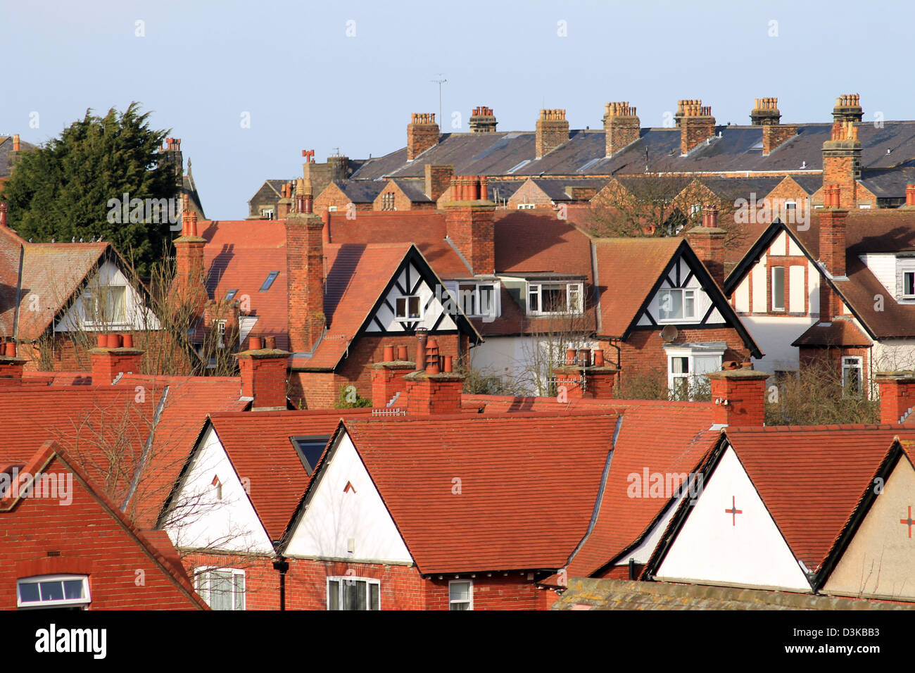 Toits de maisons et maisons de ville anglaise, Scarborough, Angleterre. Photo Stock