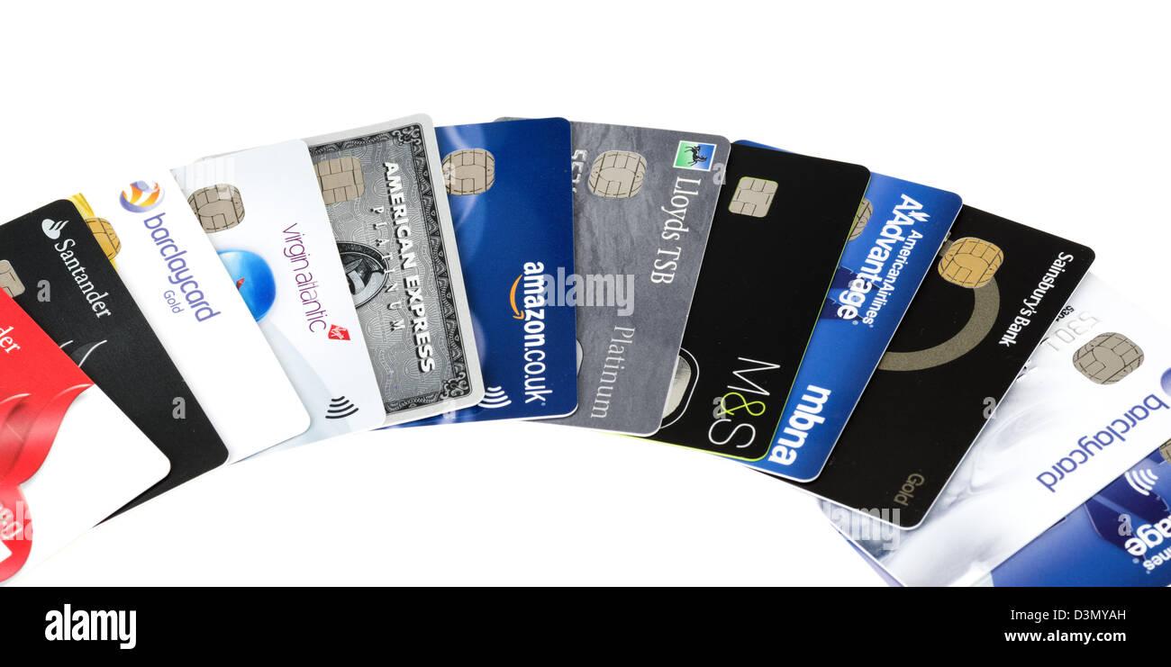Les cartes de crédit, UK Photo Stock