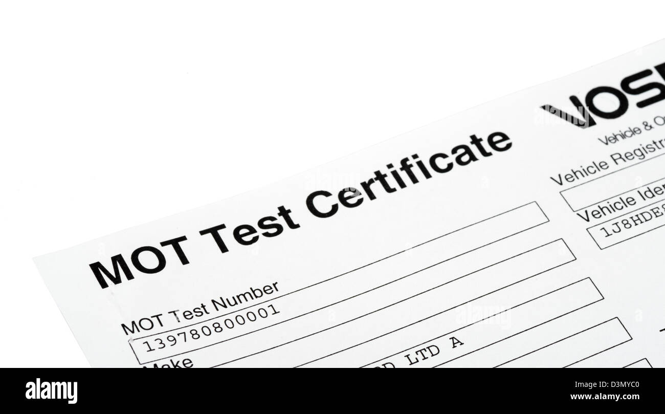 MOT Certificat de test, UK Photo Stock