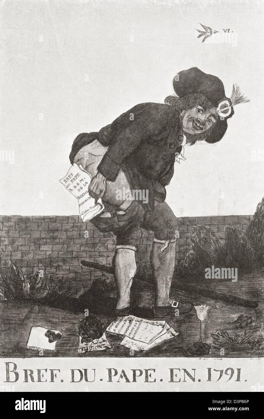 Dessin animé satirique brocardant le bref du pape Pie VI en 1791 pendant la Révolution française. Photo Stock