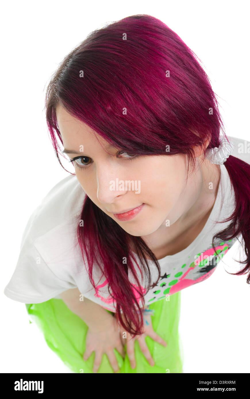 Rose Fille Bizarre Emo Cheveux A Fond Blanc Banque D Images Photo