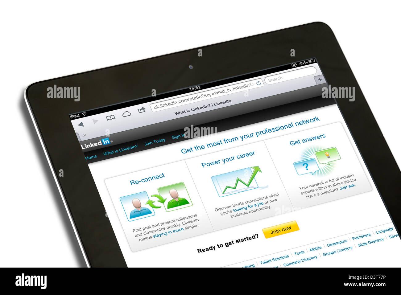 Le site de réseau social professionnel LinkedIn sur un iPad 4e génération Photo Stock