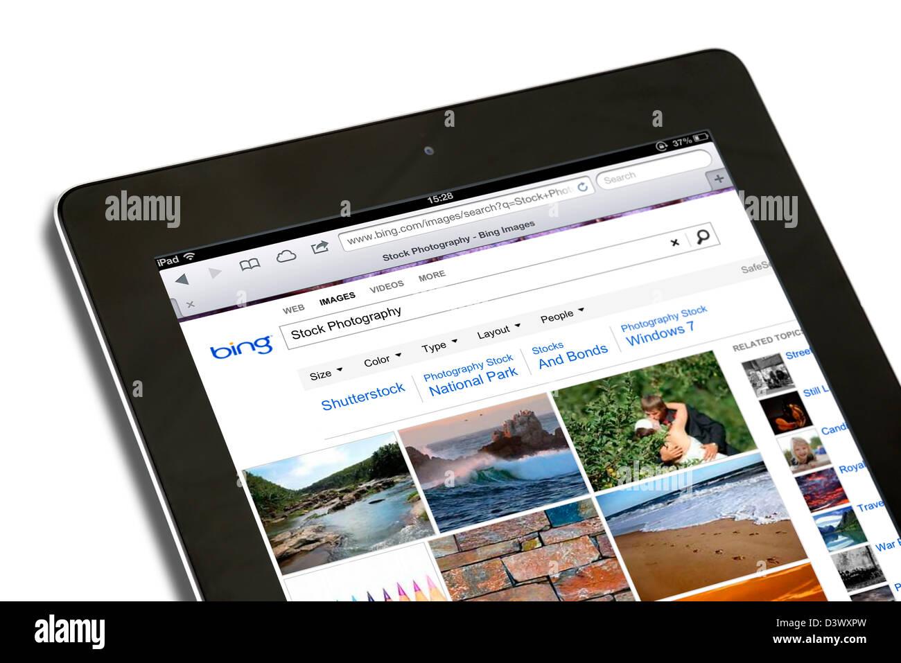 Bing Search sur un iPad 4e génération Photo Stock