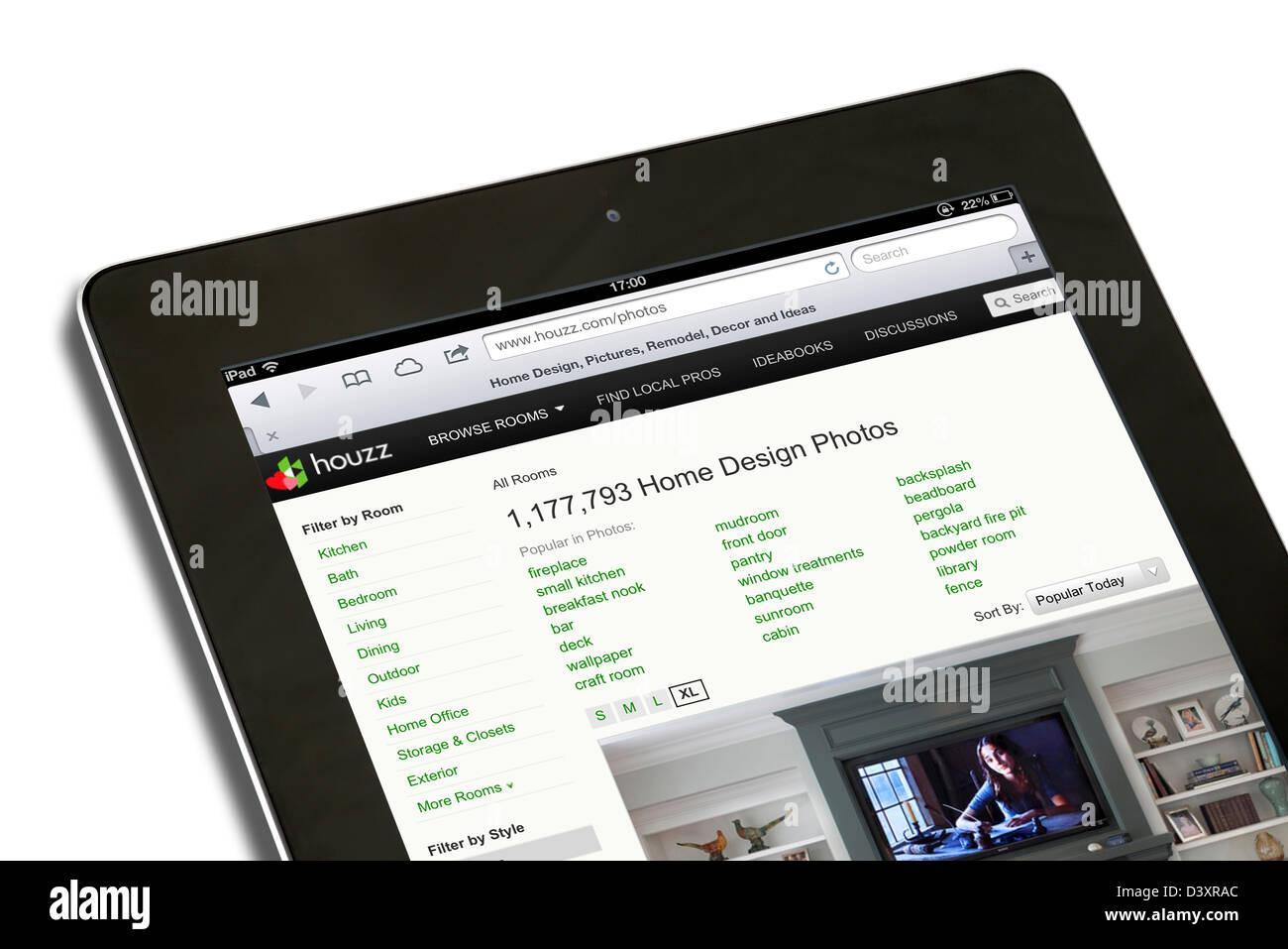 L'Houzz.com design, l'architecture et l'amélioration de l'habitat site vue sur un iPad 4 Photo Stock