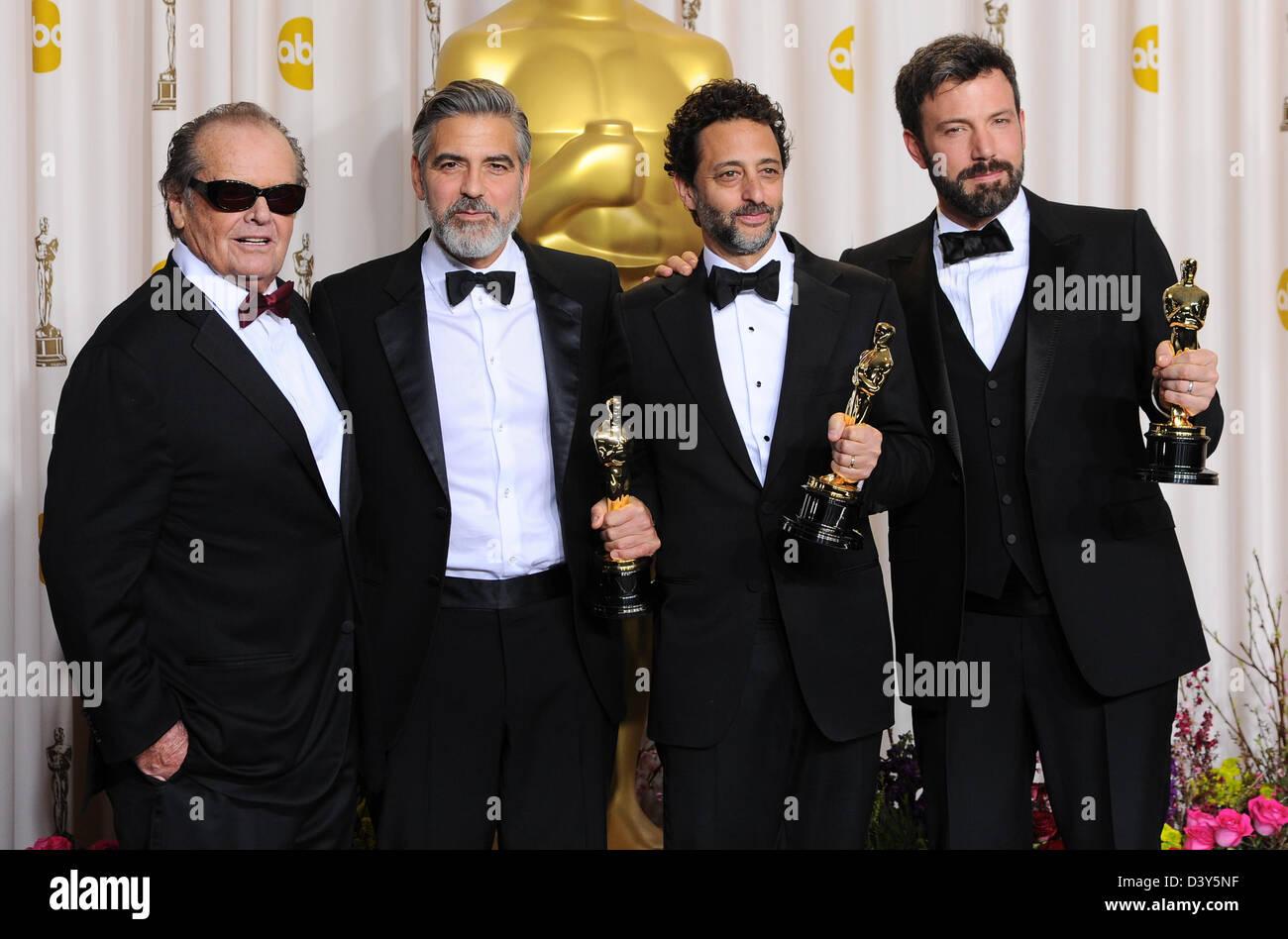Los Angeles, USA. 24 février 2013. Jack Nicholson, George Clooney, Grant Heslov et Ben Affleck dans la salle Photo Stock