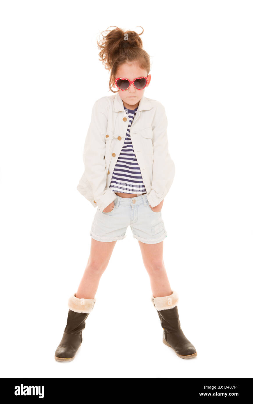Petite fille à la mode avec les vêtements à la mode Photo Stock