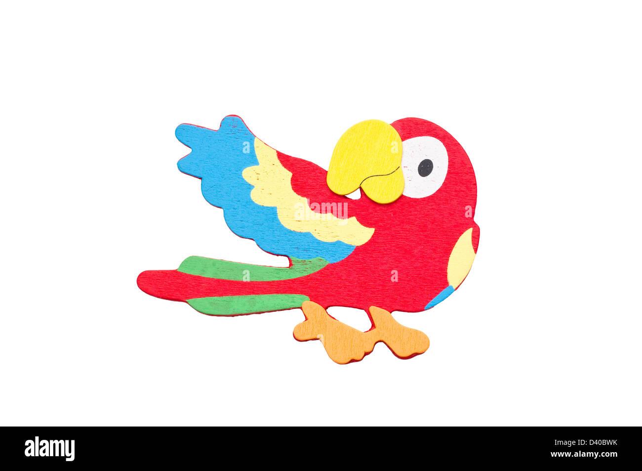 Parrot tropicales 3d isolé sur fond blanc. Banque D'Images