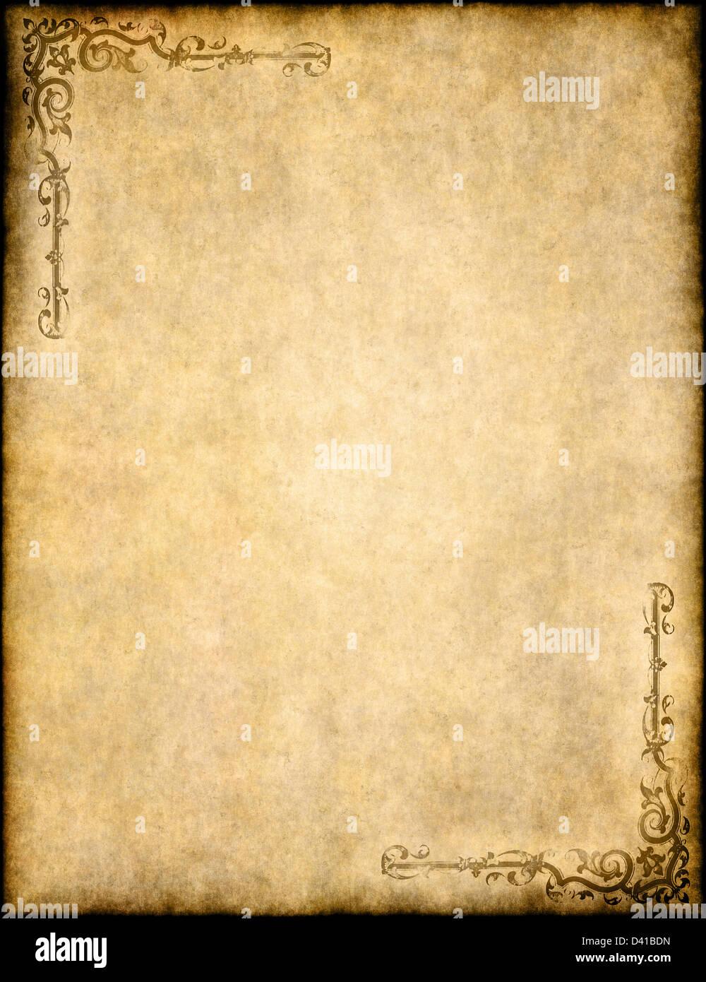 Grand fond de vieux parchemin paper texture avec un design Banque D'Images