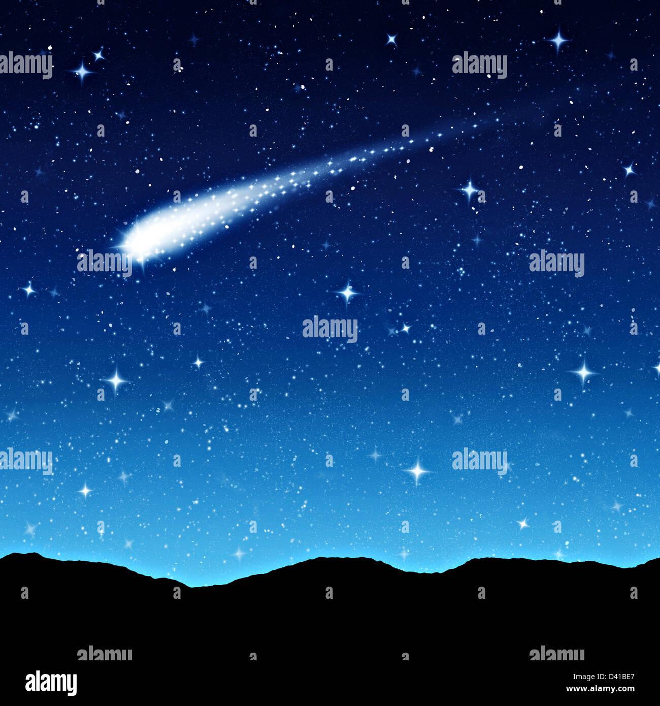 Ciel étoilé de nuit avec comète ou étoile filante Banque D'Images