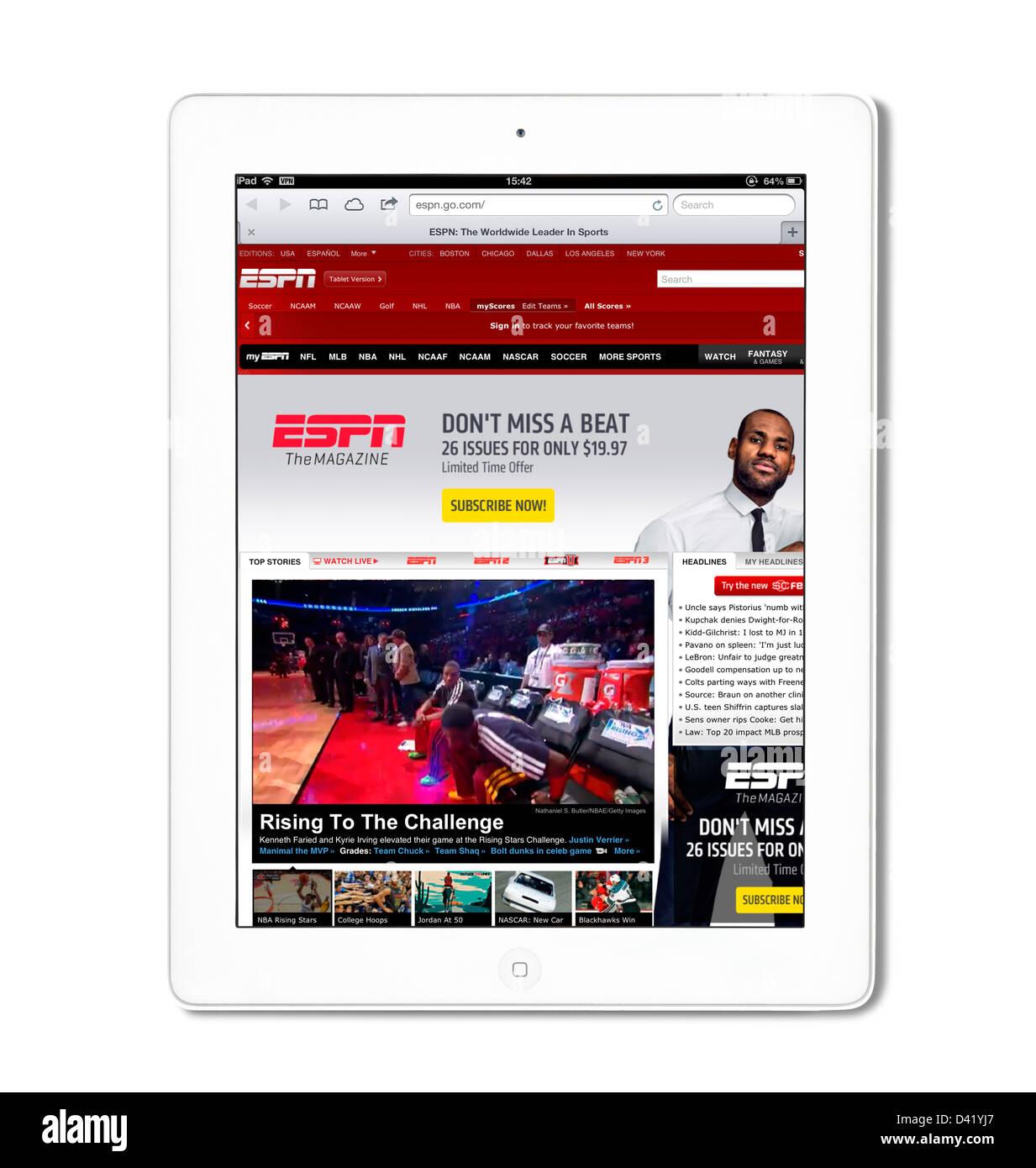 L'ESPN sports website vue sur un iPad 4 Photo Stock