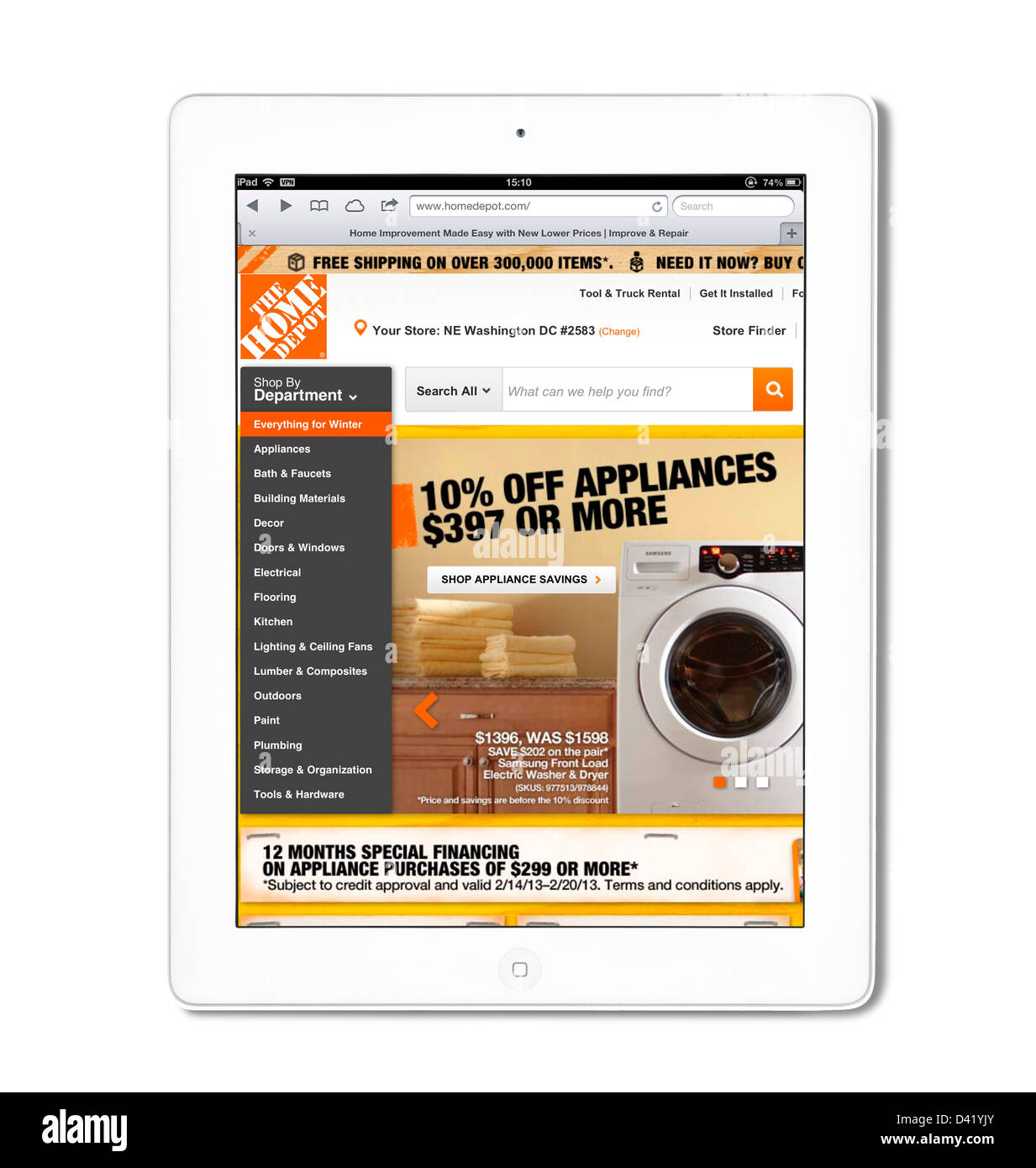 Site web de vente en ligne de Home Depot, vue sur un iPad 4, USA Photo Stock