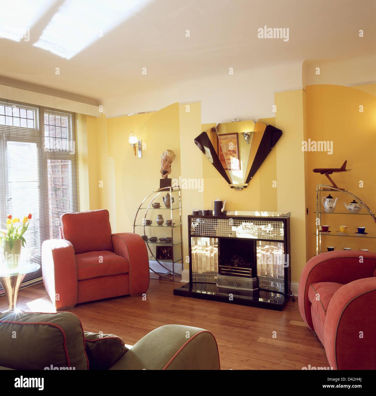 miroir miroir art déco au-dessus de cheminée dans la trentaine-style