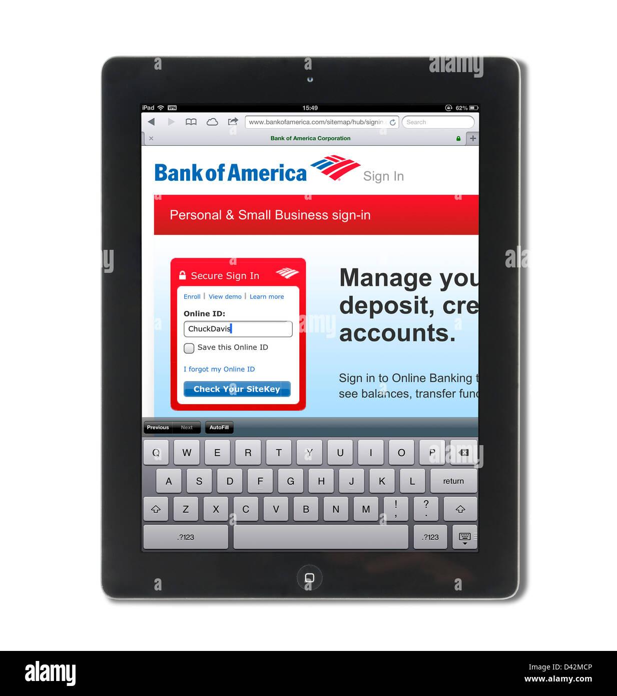 Connexion à une banque d'Amérique compte sur un iPad 4, USA Photo Stock