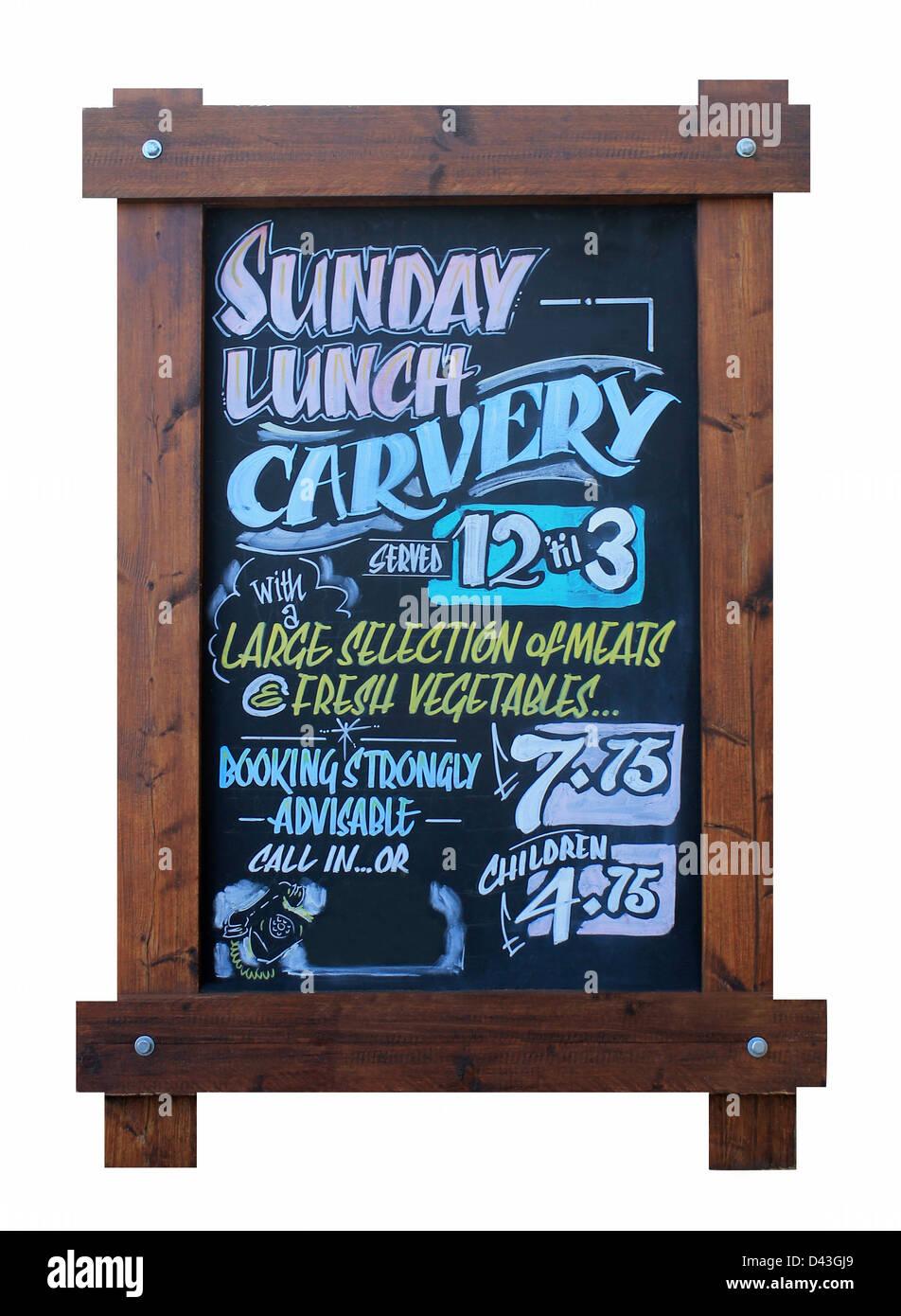 Découpe le dimanche enseigne de pub isolé sur fond blanc. Photo Stock