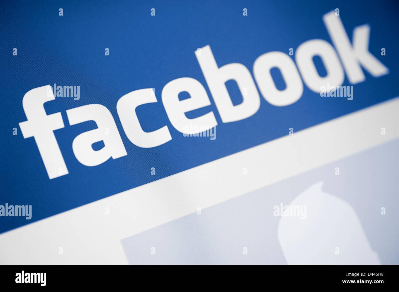 Facebook Logo du site tel qu'il apparaît à l'écran Photo Stock