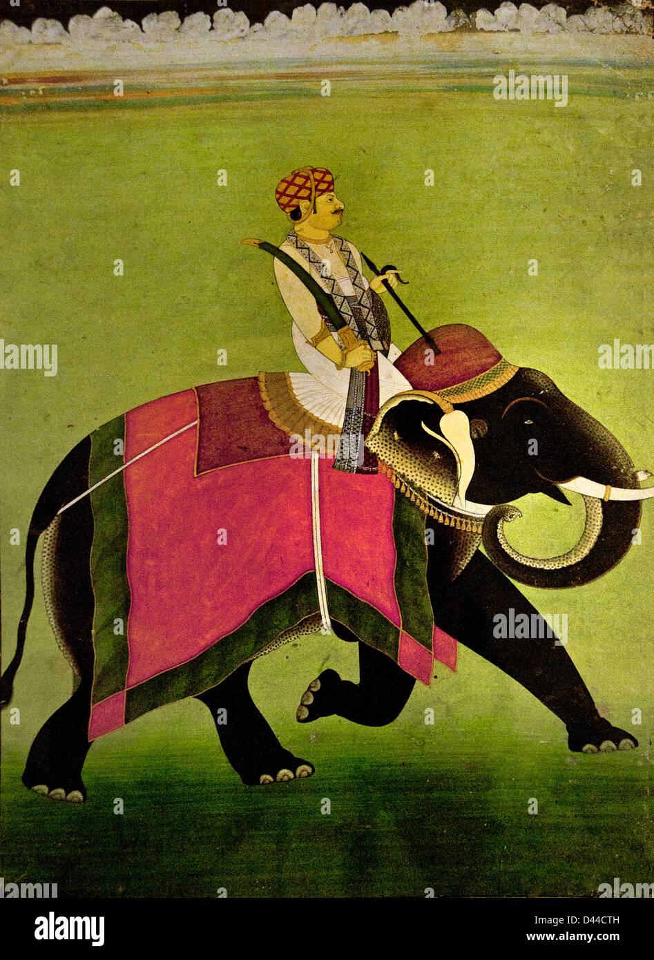 Un hindou sardar équitation un éléphant 18 Siècle Jaipur Rajasthan Rajasthan Inde Photo Stock