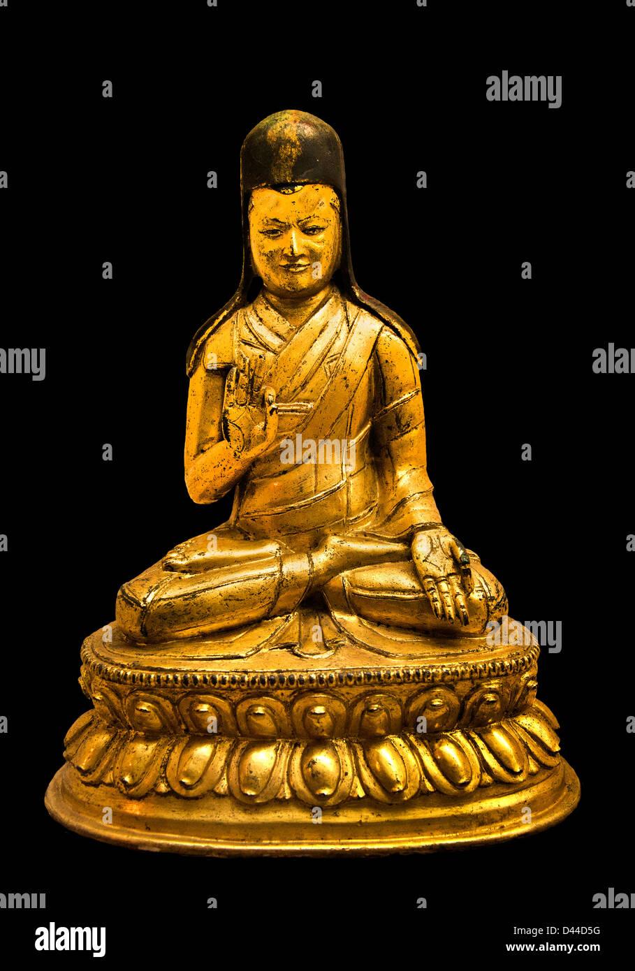 Lama du Tibet ordre Sakyapa du Bouddhisme Tibétain 17e siècle Photo Stock