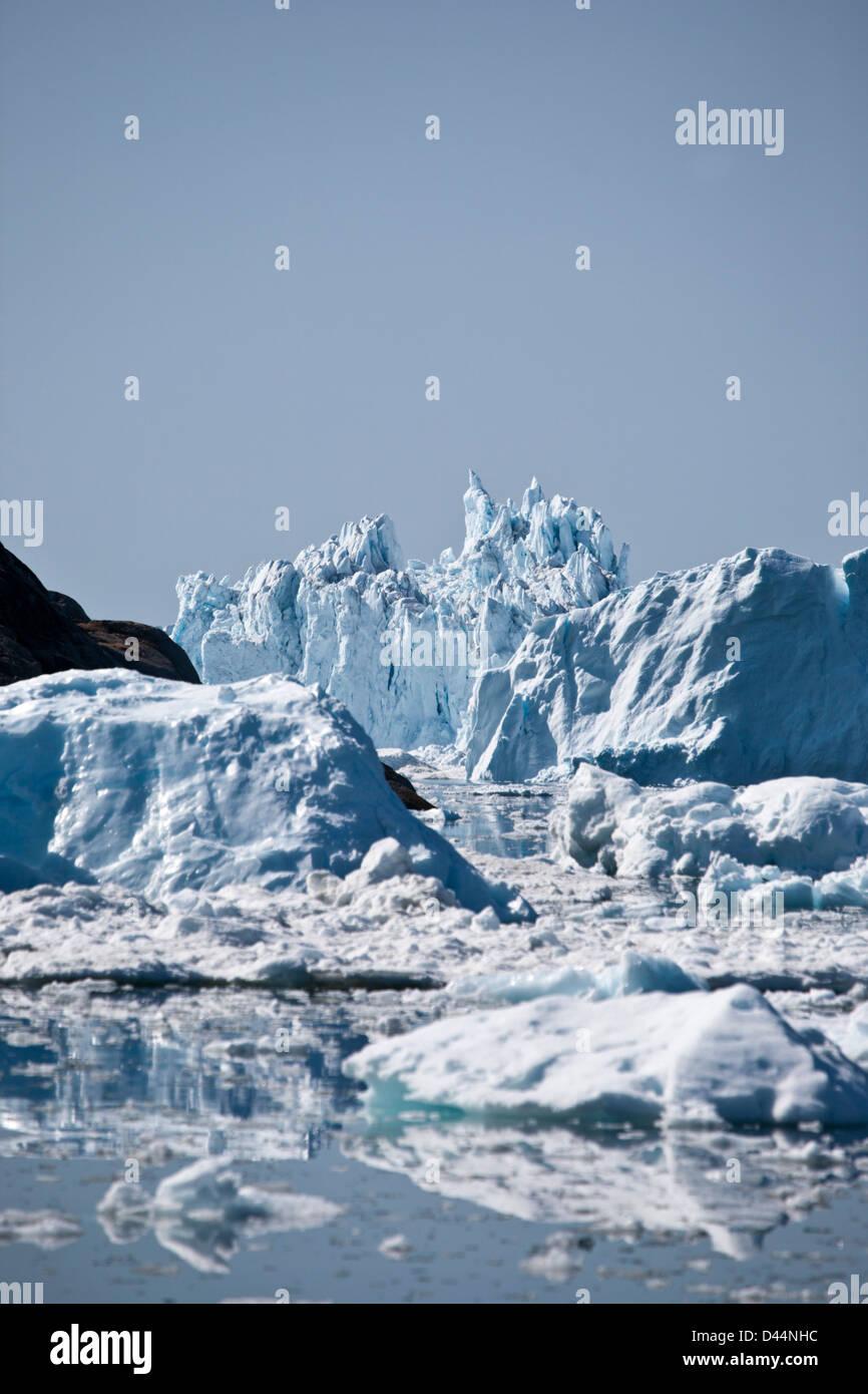 Les icebergs dans le Fjord de glace au Groenland Photo Stock