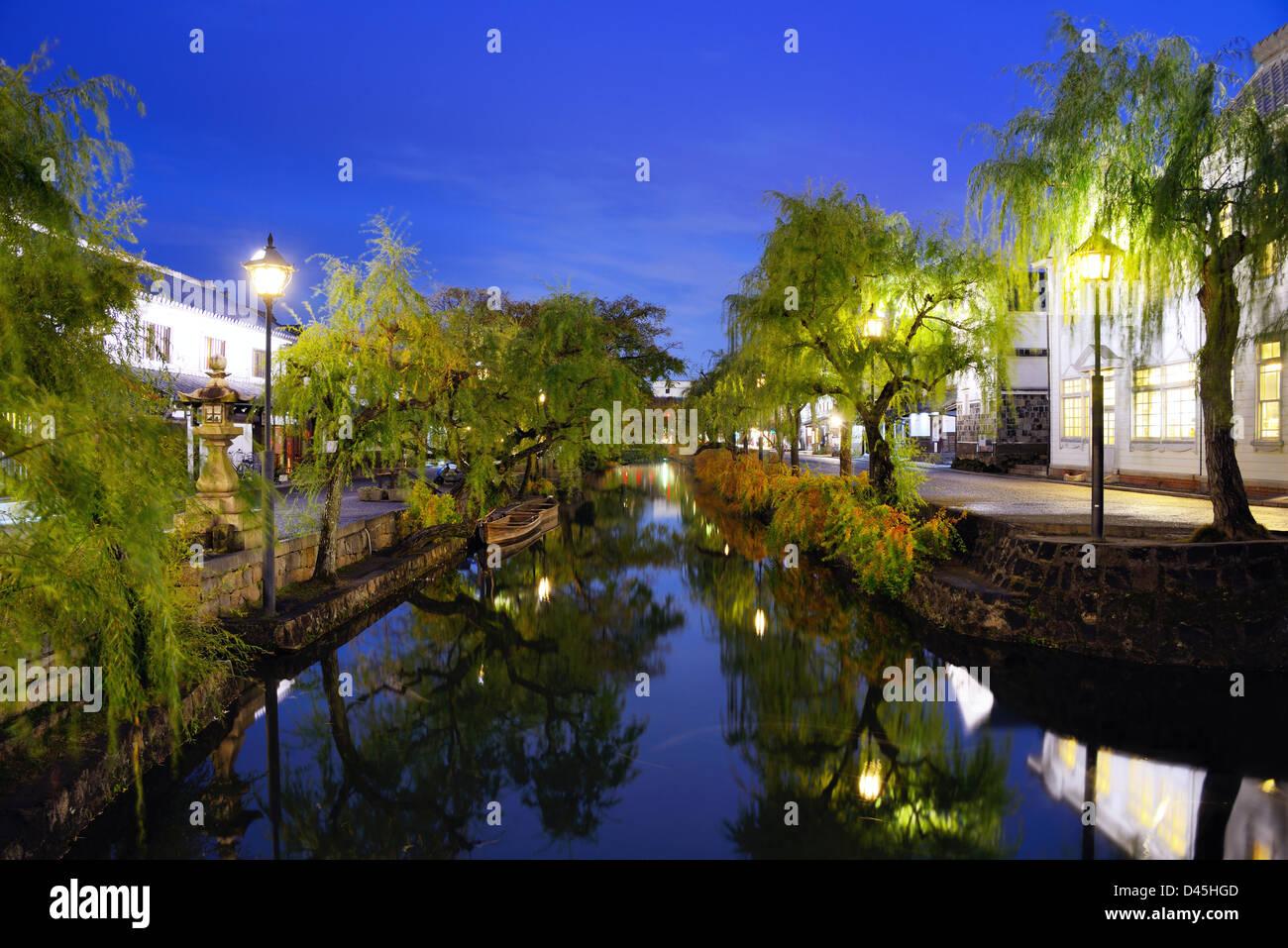 Le célèbre pont et canal de Kurashiki, Japon. Photo Stock