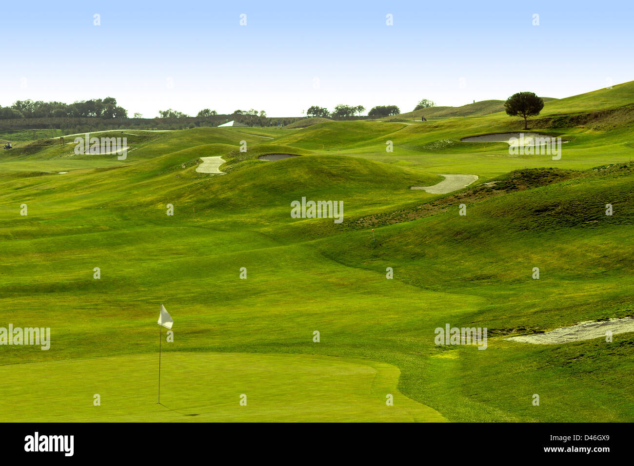 Un magnifique parcours de golf à Madrid Photo Stock