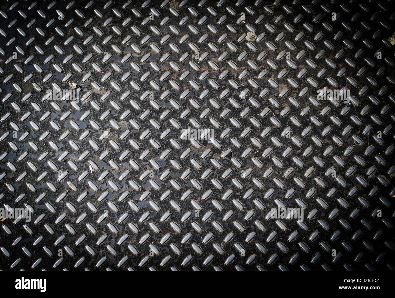 La texture en aluminium avec des formes Rhombus Banque D'Images