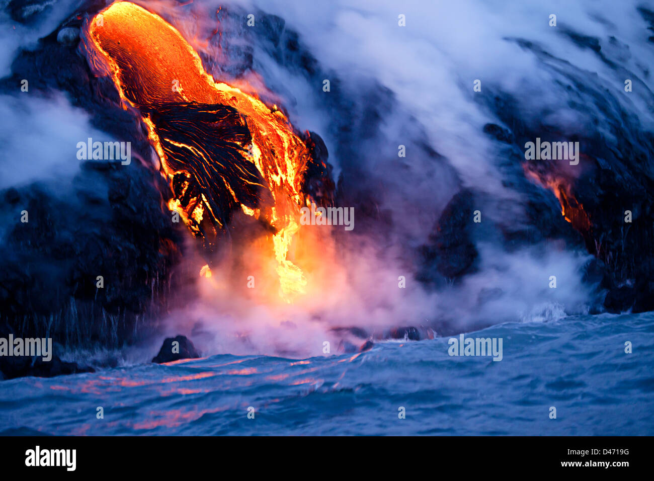 La lave pahoehoe découlant de Kilauea a atteint l'océan Pacifique près de Kalapana, Big Island, Photo Stock