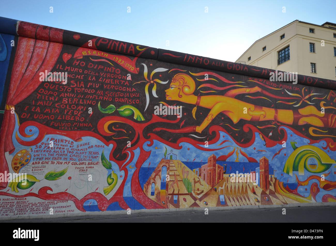 Mur de Berlin, East Side Gallery Photo Stock