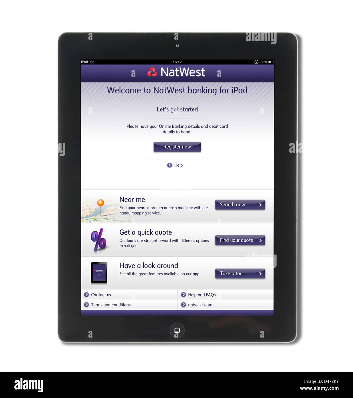 L'inscription aux services bancaires en ligne banque NatWest sur un iPad 4, UK Photo Stock