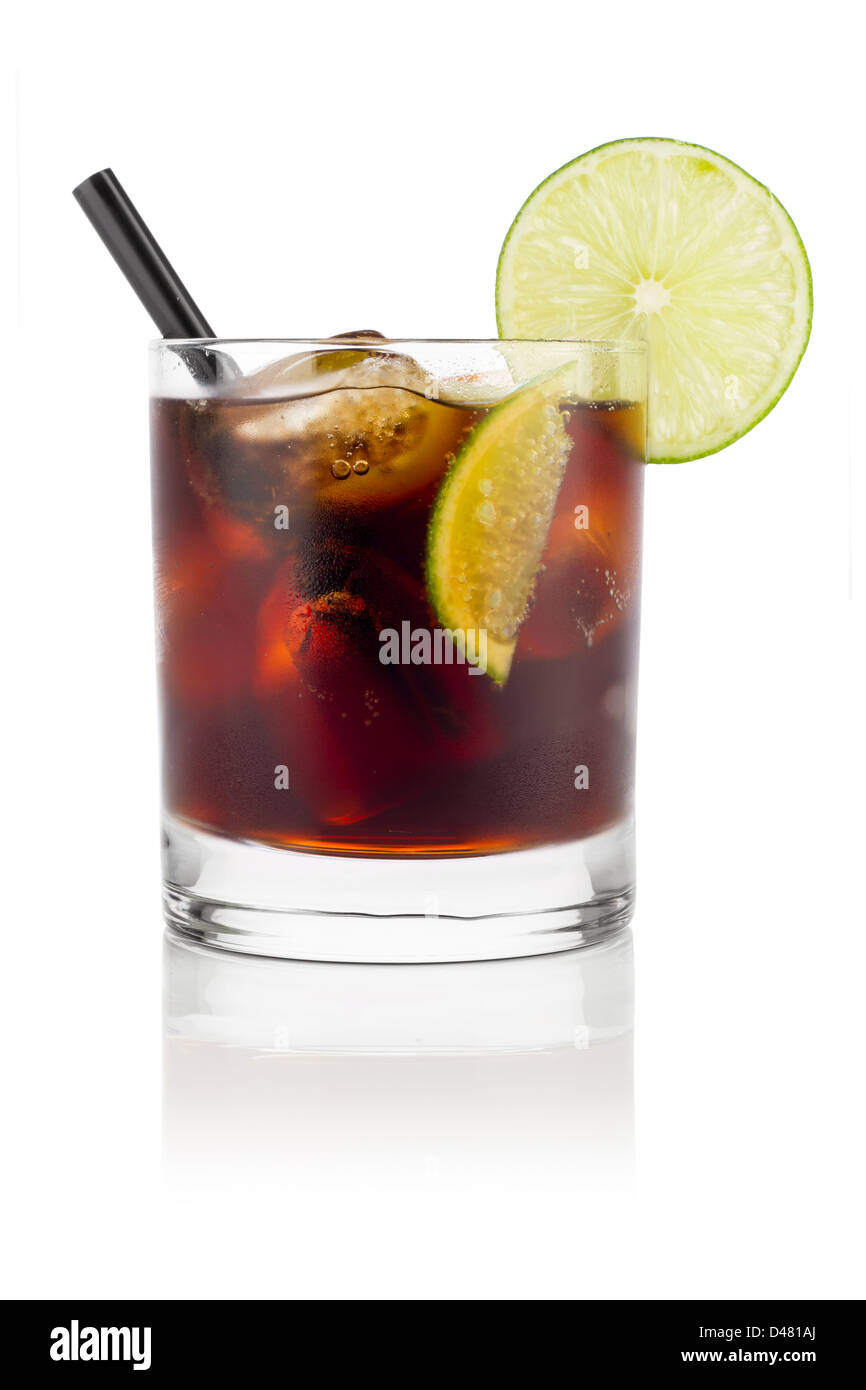 Cuba libre long drink in front of white background Photo Stock