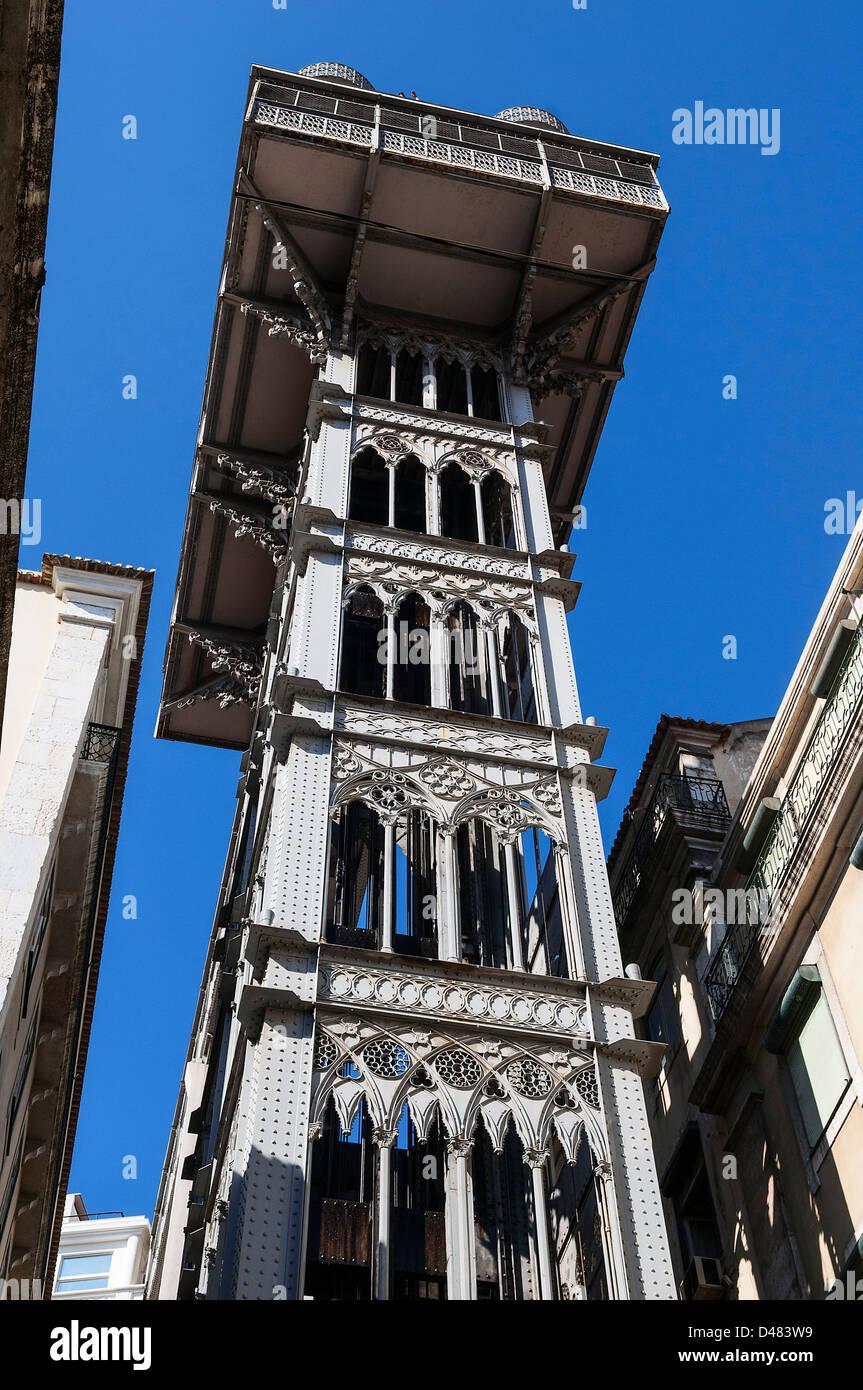 Ascenseur de Santa Justa, ville de Lisbonne, Portugal, détail architectural Photo Stock