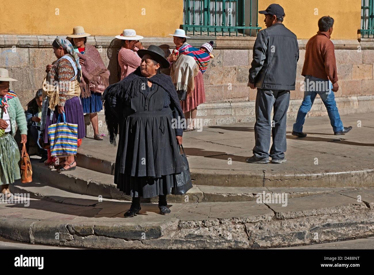 Indigena ou sections locales dans la région de Potosi, Bolivie, Amérique du Sud Photo Stock