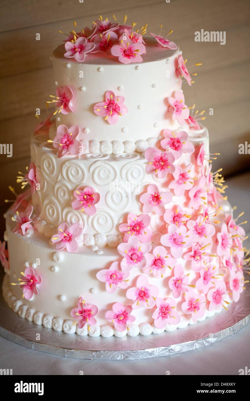 Un livre blanc 3 gâteau de mariage décoré de fleurs fuchsia. Photo Stock