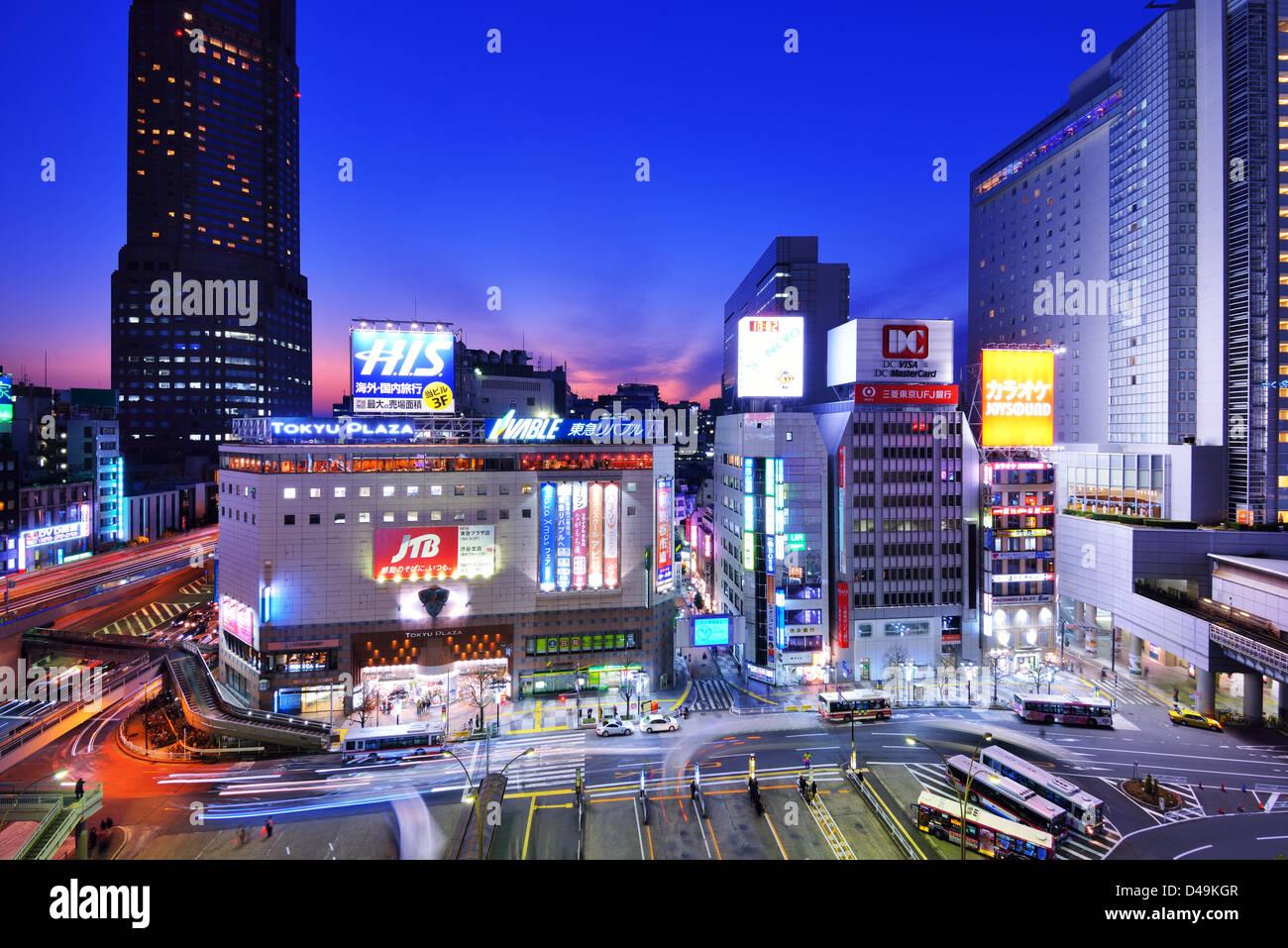 Shibuya, Tokyo, Japon paysage urbain. Photo Stock