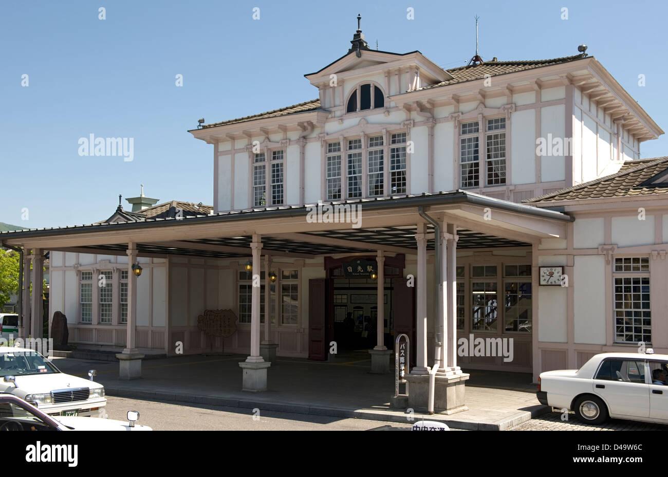 Vue extérieure de Japan Railway (JR) Nikko gare dans la préfecture de Tochigi conçu par l'architecte Frank Lloyd Banque D'Images
