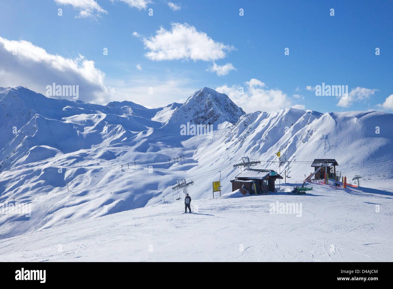 Vue de dos rond, La Plagne, Savoie, Alpes, France, Europe Photo Stock