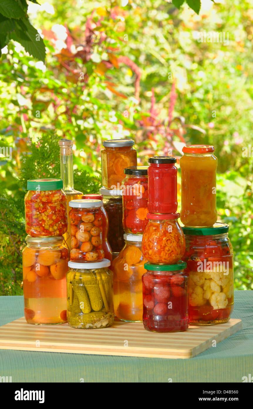 Préserve l'automne - les légumes en pots Photo Stock