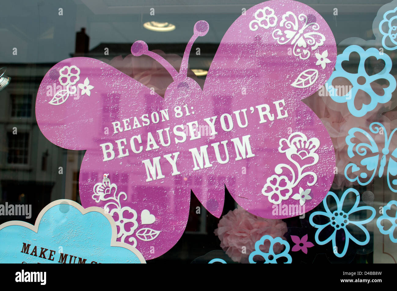 Mother's Day sign in Thorntons boutique de chocolat Photo Stock