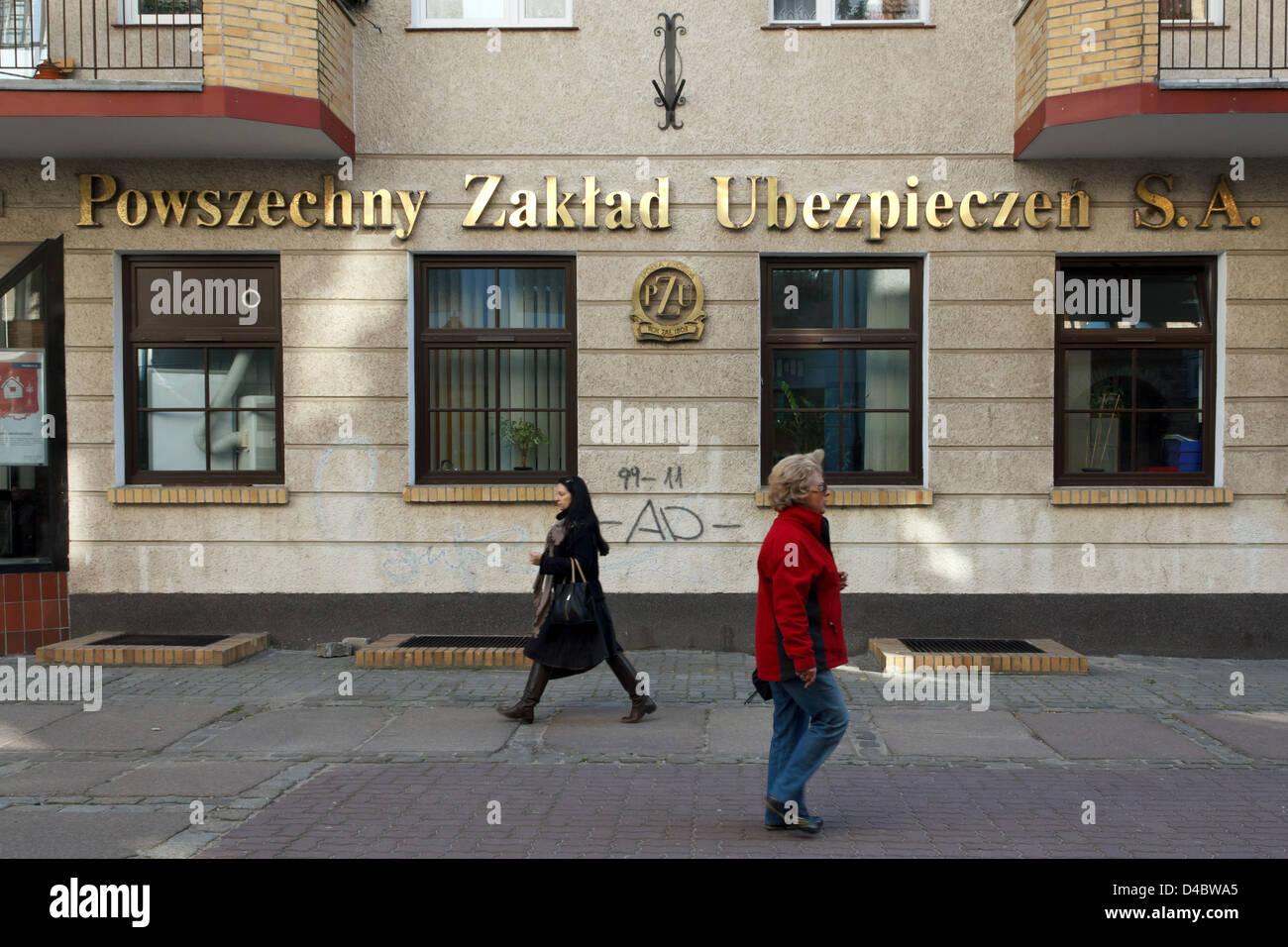 Kolobrzeg, Pologne, l'assurance Powszechny Zakład Ubezpieczen S.A. Banque D'Images