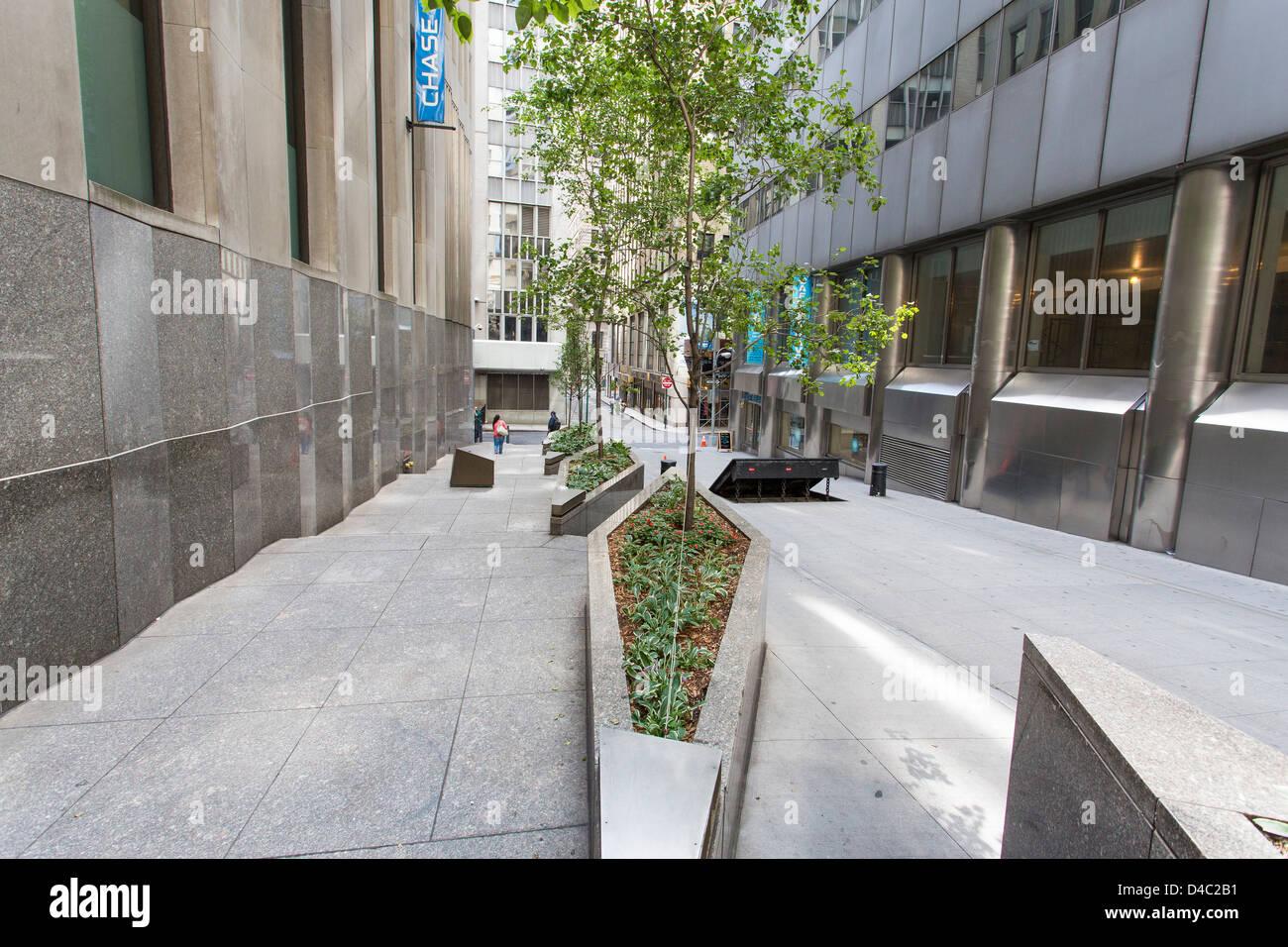 Blocus de sécurité / barricade à la Bourse de New York - Wall Street Photo Stock