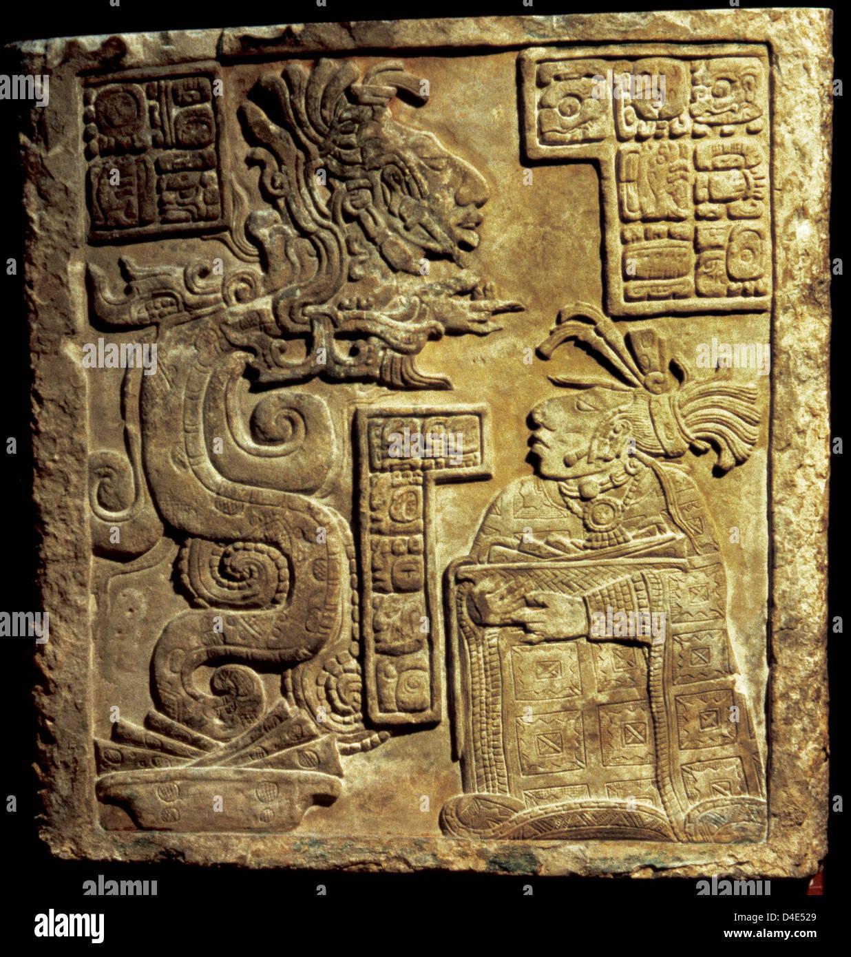 L'art précolombien d'Amérique centrale. Maya. 15 Linteau de Yaxchilan, Maya Classique tardif. Photo Stock